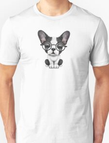 Cute French Bulldog Puppy with Glasses, Teal Blue Unisex T-Shirt