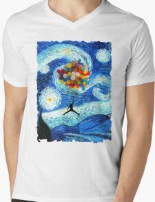 Basketball Starry Night Mens V-Neck T-Shirt