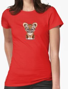 Cute Baby Tiger Cub Wearing Glasses on Red Womens Fitted T-Shirt