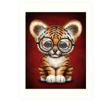 Cute Baby Tiger Cub Wearing Glasses on Red Art Print