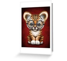 Cute Baby Tiger Cub Wearing Glasses on Red Greeting Card