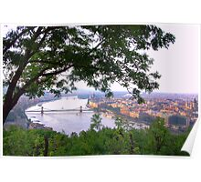 Budapest, Hungary, View from Gellert Hill Towards North Poster