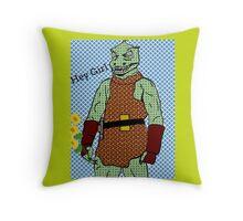 he's green, he's lean.. and he's err kind of an angry, alien reptilian Throw Pillow