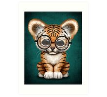 Cute Baby Tiger Cub Wearing Glasses on Teal Blue Art Print