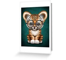 Cute Baby Tiger Cub Wearing Glasses on Teal Blue Greeting Card