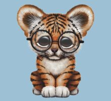 Cute Baby Tiger Cub Wearing Glasses on Teal Blue One Piece - Short Sleeve