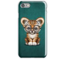 Cute Baby Tiger Cub Wearing Glasses on Teal Blue iPhone Case/Skin
