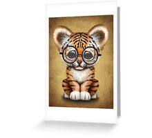 Cute Baby Tiger Cub Wearing Glasses on Brown Greeting Card