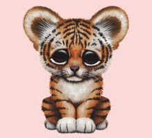 Cute Baby Tiger Cub Wearing Glasses on Brown One Piece - Long Sleeve