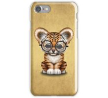 Cute Baby Tiger Cub Wearing Glasses on Brown iPhone Case/Skin