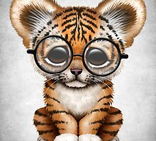 Cute Baby Tiger Cub Wearing Glasses on Teal Blue by Jeff Bartels