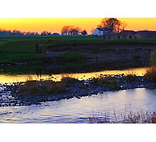 Post Sunset Light Over the River Tees, 26-March-2012. Photographic Print