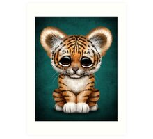 Cute Baby Tiger Cub on Teal Blue Art Print