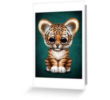 Cute Baby Tiger Cub on Teal Blue Greeting Card