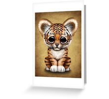 Cute Baby Tiger Cub on Brown Greeting Card