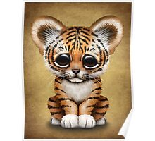 Cute Baby Tiger Cub on Brown Poster