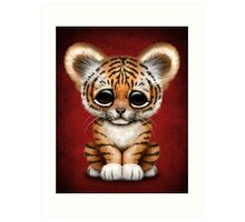 Cute Baby Tiger Cub on Red Art Print