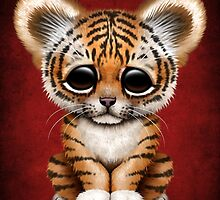Cute Baby Tiger Cub on Red by Jeff Bartels