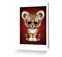 Cute Baby Tiger Cub on Red Greeting Card