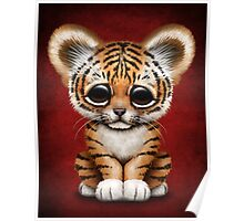 Cute Baby Tiger Cub on Red Poster