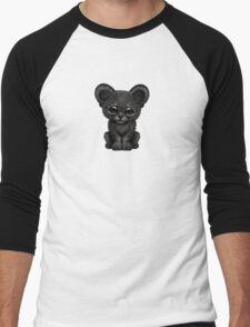 Cute Baby Black Panther Cub on Blue Men's Baseball ¾ T-Shirt