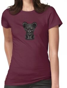 Cute Baby Black Panther Cub on Blue Womens Fitted T-Shirt