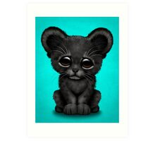 Cute Baby Black Panther Cub on Blue Art Print