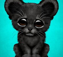 Cute Baby Black Panther Cub on Blue by Jeff Bartels