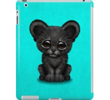 Cute Baby Black Panther Cub on Blue iPad Case/Skin
