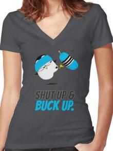Shut Up & Buck Up! v.2 Women's Fitted V-Neck T-Shirt