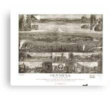 Panoramic Maps Olympia the capital on Puget Sound Washington Canvas Print
