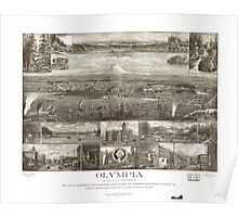 Panoramic Maps Olympia the capital on Puget Sound Washington Poster