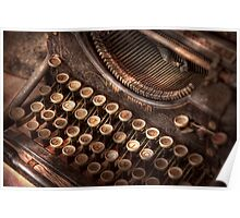 Steampunk - Typewriter - Too tuckered to type Poster