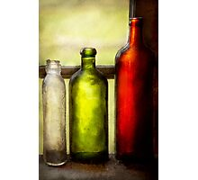 Collector - Bottles - Still life of three bottles  Photographic Print
