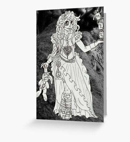 Alice in Wonderland - Black and White Greeting Card