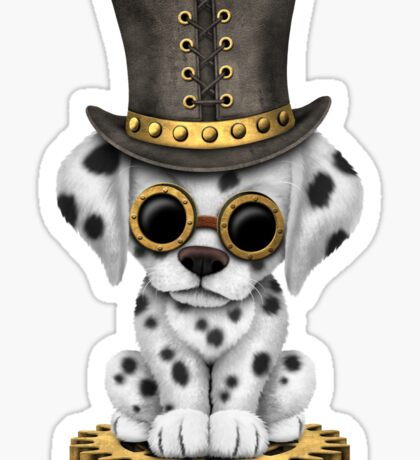 Cute Steampunk Dalmatian Puppy Dog Sticker