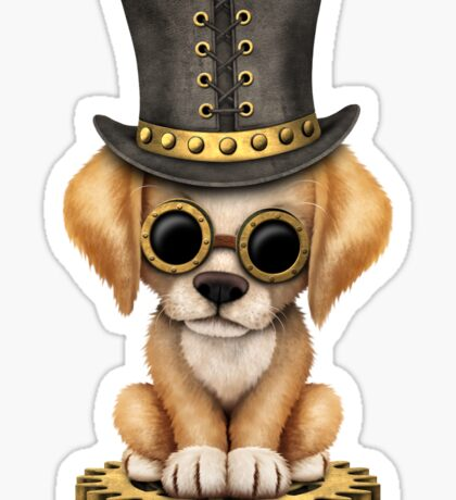 Cute Steampunk Golden Retriever Puppy Dog Sticker