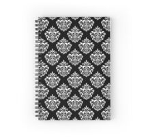 White Damask Pattern Spiral Notebook