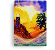 Brightday at the lighthouse, watercolor Canvas Print