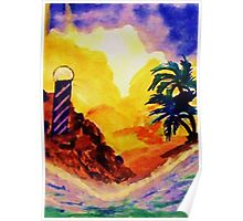 Brightday at the lighthouse, watercolor Poster