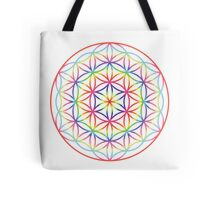 Flower of Life, Psychedelic Rainbow Tote Bag