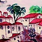 The Spanish style Complex, watercolor  by Anna  Lewis