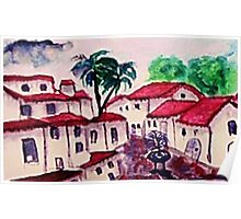 The Spanish style Complex, watercolor  Poster