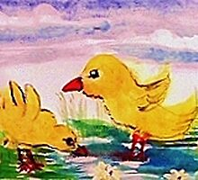 Playing inthe water,Happy Easter, watercolor by Anna  Lewis