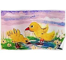 Playing inthe water,Happy Easter, watercolor Poster