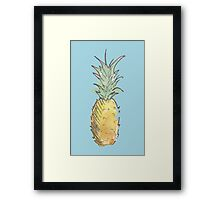 Cute Watercolor and Ink Pineapple Framed Print