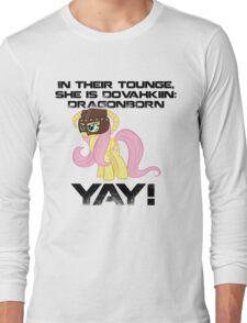 Fluttershy Dovahkiin (Text) Long Sleeve T-Shirt