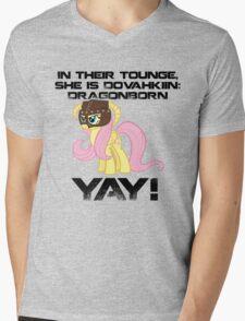 Fluttershy Dovahkiin (Text) Mens V-Neck T-Shirt