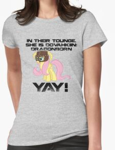 Fluttershy Dovahkiin (Text) Womens Fitted T-Shirt