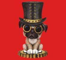 Cute Steampunk Pug Puppy Dog One Piece - Short Sleeve
